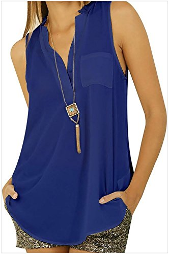 Cross Front Patent Heel (YFFaye Women's Darkblue Button V Neck Sleeveless Chiffon Blouse)