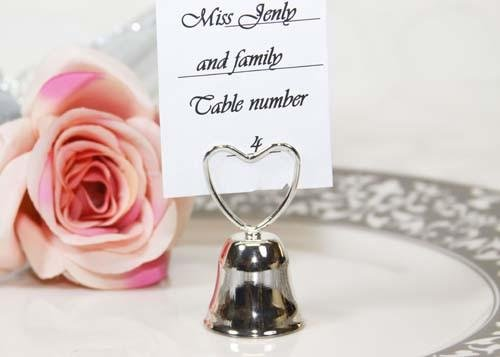 (Plated Silver Metal Bell Heart Shape Card Holder (12 pieces))