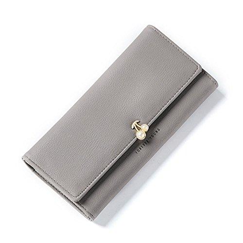 Leather Wildeal PU Perle cartes femme Clutch de l'argent long Cerise unie Femme pour de gris Portefeuille Couleur Sac Motif pour d'imitation Purse xqIpqS