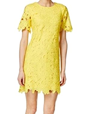 Calvin Klein Women's Sheath Crochet Lace Dress Yellow 4