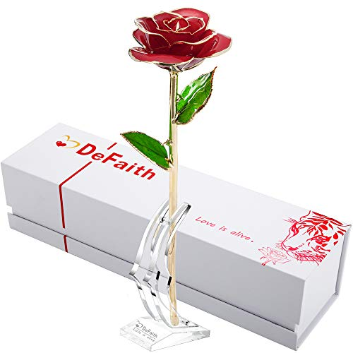 DEFAITH 24K Gold Rose Made from Real Fresh Long Stem Rose Flower, Great Anniversary Gifts for Her, Red with ()