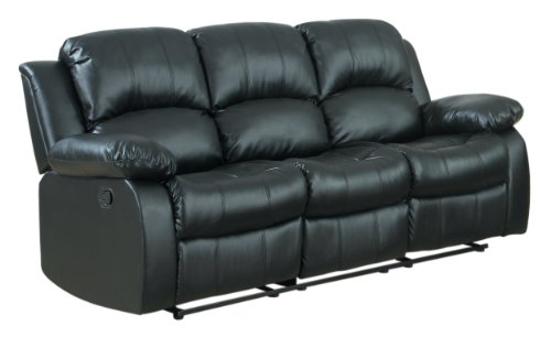 Perfect Homelegance Double Reclining Sofa, Black Bonded Leather Nice Design