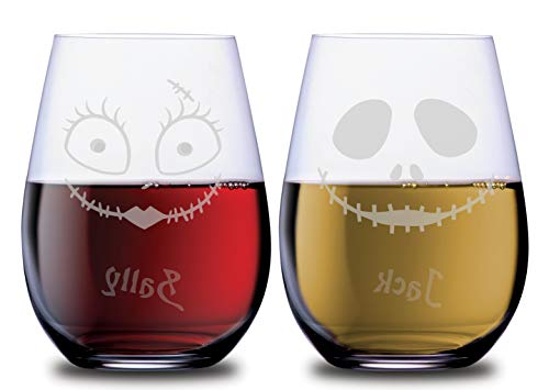 Character Wine Stemless Couples Glasses Jack Glass and Sally Glass Set of 2 Dishwasher Safe, 18 oz, by Smoochies | Couples, Anniversary, Home Date Night, Wife Husband, Her His, Nightmare Fandom]()