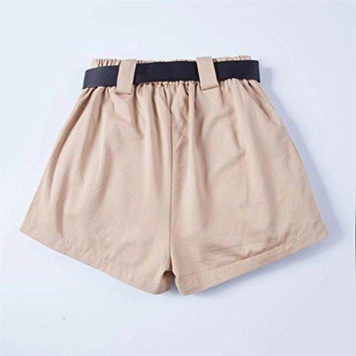 pour Casual Ceinture Elastique Large Et Taille Kaki Femme avec Shorts Vintage FuweiEncore zRq1BR