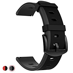 22mm Quick Release Soft Silicone Watch Band Anti-Allergic Color Splicing Replacement Strap (Black/Gray)