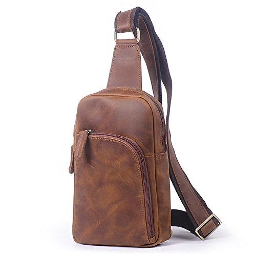 Chest Color color coffee Retro Men's Leather Brown Bag Sunbobo Retro Shoulder Messenger Zipper Bag Bag Dark 1q4Cw5