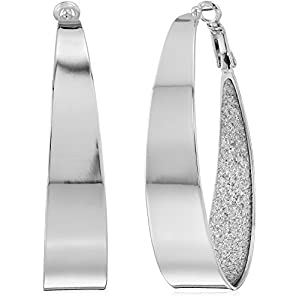 Guess Large Oval Glitter Hoop Earrings