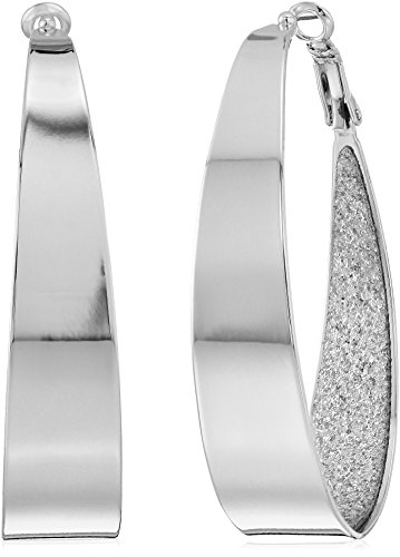 Guess Large Oval Glitter Silver Hoop Earrings