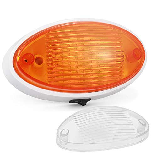 Kohree LED RV Exterior Porch Utility Light with Switch 12v Replacment Light for RVs, Trailers, Campers, 5th Wheels. 360 Lumen, White Base, Included Clear and Amber Lenses Removable