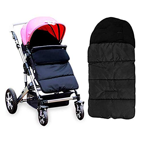 Diagtree Baby Sleeping Bag Universal 3 in 1 Stroller Annex Mat Footmuff Cover Stroller Bunting Bag Waterproof Windproof Cold-Proof Detachable (Black)