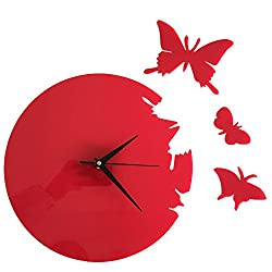 Happy Hours - 3D Acrylic Butterfly Quartz Wall Clock/Creative Wall Stickers Hanging Watch/Living Room Dial Digital Home Decoration(Red,Size L)