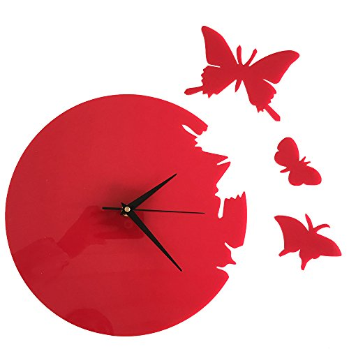 Happy Hours - 3D Acrylic Butterfly Quartz Wall Clock / Creative Wall Stickers Hanging Watch / Living Room Dial Digital Home Decoration(Red,Size L)
