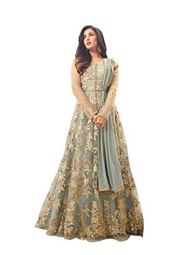 (Light Blue Soft Net Fabric Heavy Embroidered Designer Long Anarkali Salwar Suit (Medium))