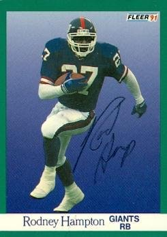 Rodney Hampton autographed Football Card (New York Giants) 1991 Fleer #311 - NFL Autographed Football Cards