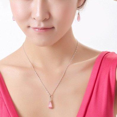 Hermosa rosa piedra Tear gota de collar de novia Puff Francés Alambre Pendientes novia regalo