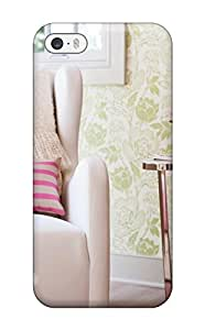 Iphone 5/5s IHjWaWW5079qDSxZ Girls Nursery With White Chair Green Wall Design And Hot Pink Accents Tpu Silicone Gel Case Cover. Fits Iphone 5/5s