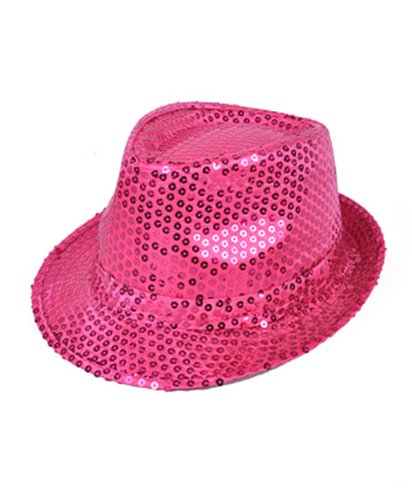 (Colorful Sequined Fedora Hat (Fuschia))