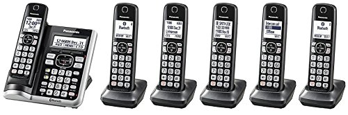 Panasonic KX-TGF575S Plus One KX-TGFA51B Handset Link2Cell BluetoothCordless Phone with Voice Assist and Answering Machine – 6 Handsets (Certified Refurbished)