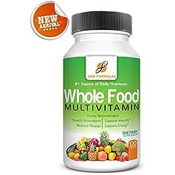 DNA Formulas Whole Food Multivitamin 120 Capsules Enhanced Bioavailable Whole Food Multivitamin For Men & Women No Artificial Colors or Preservatives Activated Mineral Rich - Biotin - Vitamin D - Vitamin B12 - Folate - Vitamin C
