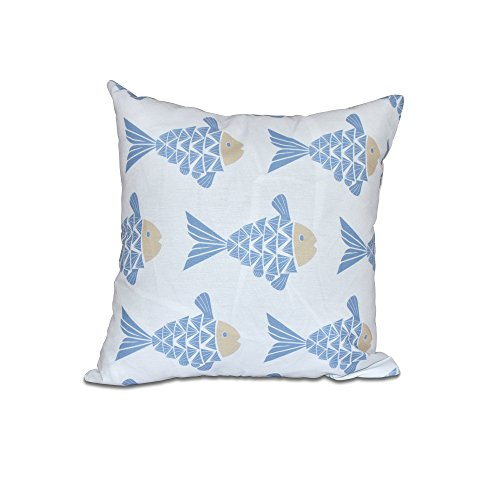 E by design 20 x 20 Fish Tales Animal Print Blue Pillow by E by design