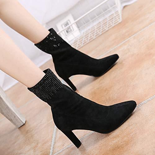Femme Pour Gtvernh Talons sexy Élasticité Hauts Au Des Black Les Bottes A Eau Milieu Forer Velvet D'épaisseur Chaussures Dénudé 8cm TUTWqFcn