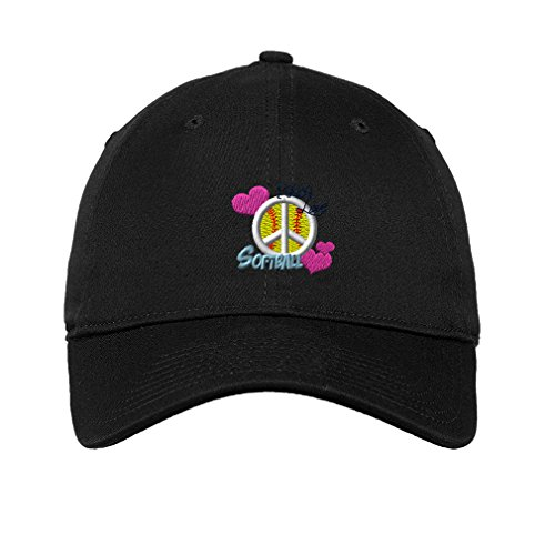 Speedy Pros Cotton Low Profile Hat Sport Softball Girl Peace Embroidery Black (Embroidered Softball Cap)