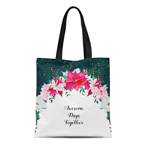Semtomn Canvas Tote Bag Shoulder Bags Poinsettia Mix Circle Emerald Flowers Hydrangea Parvifolia Eucalyptus Merry Women's Handle Shoulder Tote Shopper -