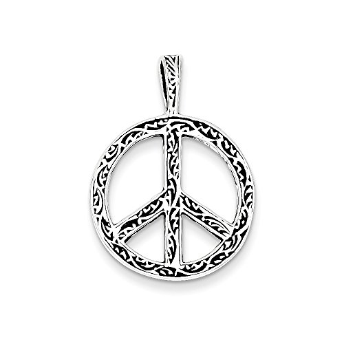 Sterling Silver Antiqued Peace Sign Charm (29 x 21mm) (Charm Sold Sign)