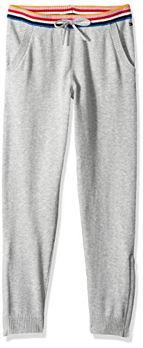 Tommy Hilfiger Girls' Adaptive Sweatpant with Zip Outside Seams, BC03 Heather LG