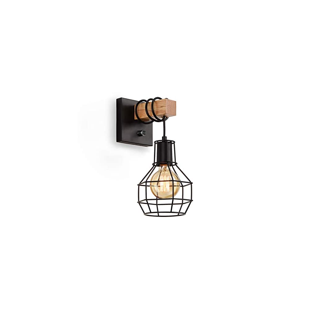 Lightess Black Wall Sconces with Dimmer ON/Off Switch, Vintage Cage Wall Mount Light Fixture Industrial Farmhouse…