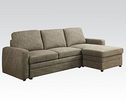 ACME Furniture Derwyn 51645 Sectional Sofa, Light Brown Linen