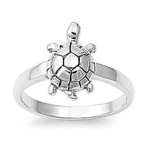 Sterling Silver Turtle Ring 14mm - Size 10