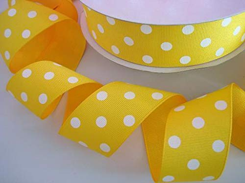 - Ribbon Art Craft Decoration 5 Yards Yellow/White Grosgrain 1.5