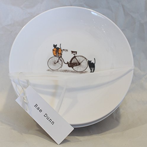 Rae Dunn Magenta Ceramic Circle Dessert Appertizer Salad Candy Dishes Plates Halloween Scaredy Cat Black Cats Bicycle (Set of 4) -