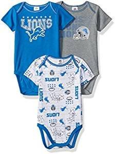 (NFL Detroit Lions Unisex-Baby 3-Pack Short Sleeve Bodysuits, Blue, 0-3 Months)