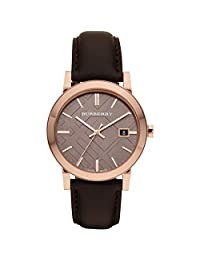 Burberry Men's BU9013 Large Check Leather Strap Brown Dial Watch
