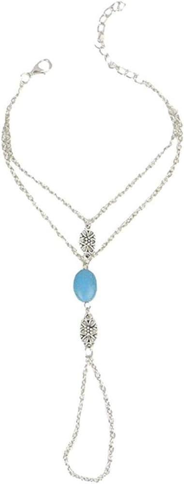 Yeaser Pulsera de cadena de mano con anillo de plata y piedra azul, diseño de novia