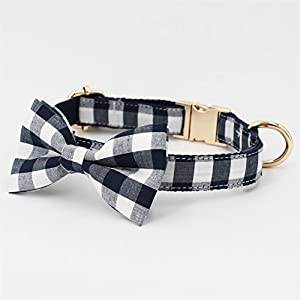 Free Sunday Cool Navy Blue Gingham Plaid Dog Bow Tie Dog Collar Adjustable Dog Collar for Small Dog, Medium Dog, Large Dog (Bowtie Collar, XL (17''-26'' Length))
