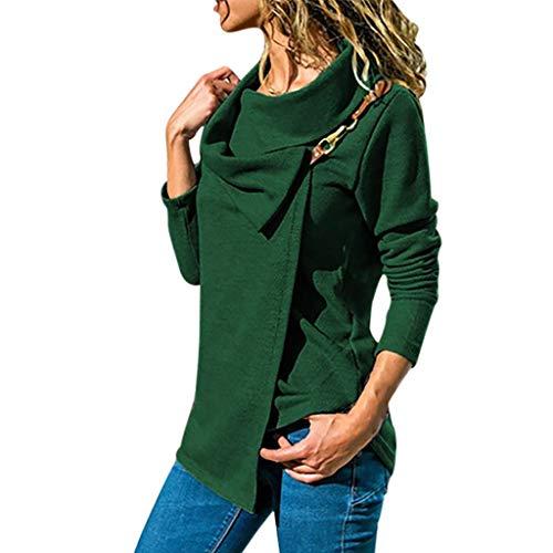 (Inverlee Blouse Women's Long Sleeve Bib Large Lapel Corset Metal Buttoned Jacket Green)