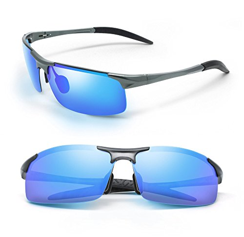 REVOLV POLARIZED MEN'S SUNGLASSES | SPORT WRAP STYLE | ALUMINUM METAL FRAME | PERFECT FOR DRIVING CYCLING RUNNING (Pewter Gray, Pacific Green - Pewter Sunglasses