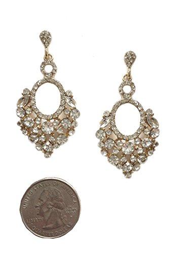 (Gold Tone Vintage Retro Style Formal Wedding Bridal Prom Rhinestone Earrings)