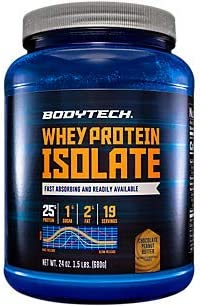 BodyTech Whey Protein Isolate Powder with 25 Grams of Protein per Serving BCAA s Ideal for PostWorkout Muscle Building Growth, Contains Milk Soy Rich Chocolate 1.5 Pound