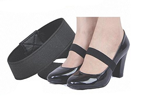 (2 Pairs Elastic Anti-loose Shoelace Shoe Straps Band for High Heels/ Flats High Heels/ Pumps Holder Shoe Decor for Lady Women Girls (Black))