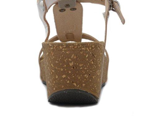 OSVALDO PERICOLI Mercante di Fiori, Sandalo in Pelle Bianco-Latte, Zeppa 6cm-1095