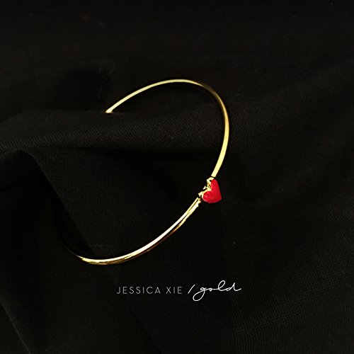 American designer with little red hearts series three-piece rings bracelets earrings jewelry gift cloisonne enamel gold-plated copper