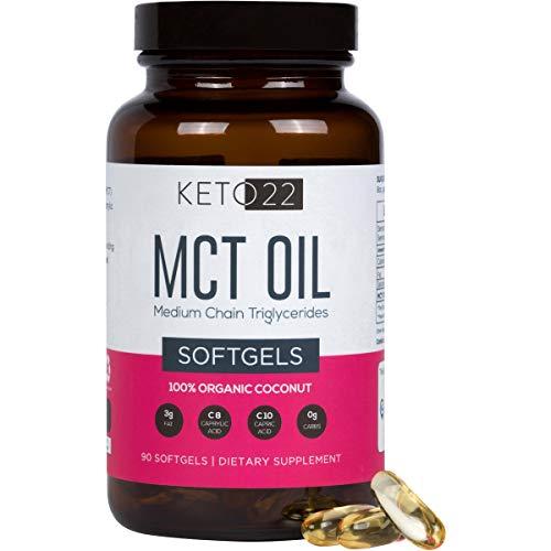Keto 22 Organic MCT Oil Capsules - Premium Keto Diet Pills - 90ct 1 Month Supply - Perfect On-The-Go Keto Pills - Caprylic Acid (c8) / Capric Acid (c10) Keto Supplement - Earth Friendly Glass Bottle