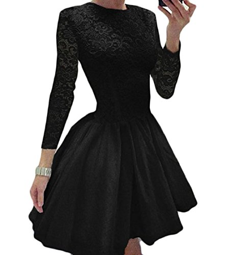 Party Splice Coolred Round Black Lace Ball Women Neck Line Gown Hem Sexy Dress EE7wqvr4yO