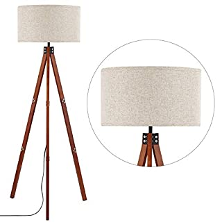 Anbomo Wood Tripod Floor Lamp, Modern Standing Light with E26 Lamp Base, Wood Floor Reading Lamp for Contemporary Living Rooms, Study Room and Office