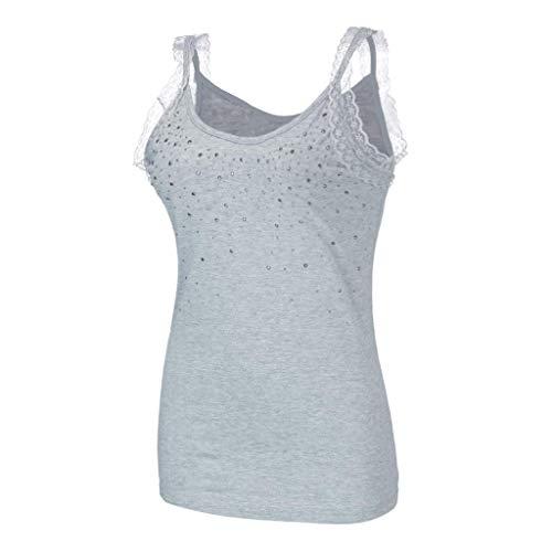 60s Rhinestone - huoaoqiyegu - Women Camisole Tank Tops/with Rhinestone/Lace-Trimmed/Casual Vest Shirt Blouse Gray