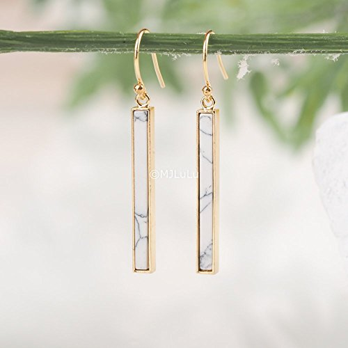 Minimal White Marble Bar Earrings, White Howlite Gemstone Dangle Earrings